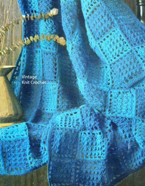 Blue Crocheted Squares Afghan Pattern No 742-12