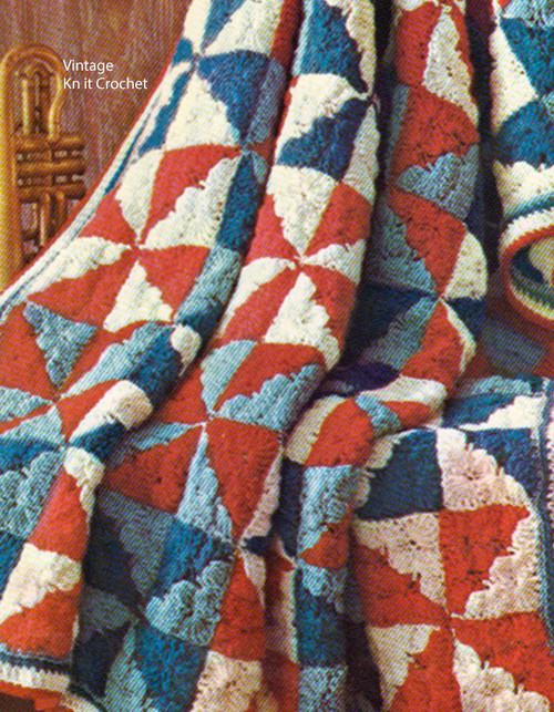 Crochet Patchwork Afghan Pattern Vintage 1960s