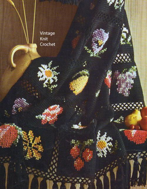 Vintage Fruit Flowers Crochet Tapestry Afghan Pattern