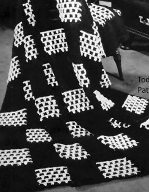 Vintage Checkerboard Crochet Afghan Pattern
