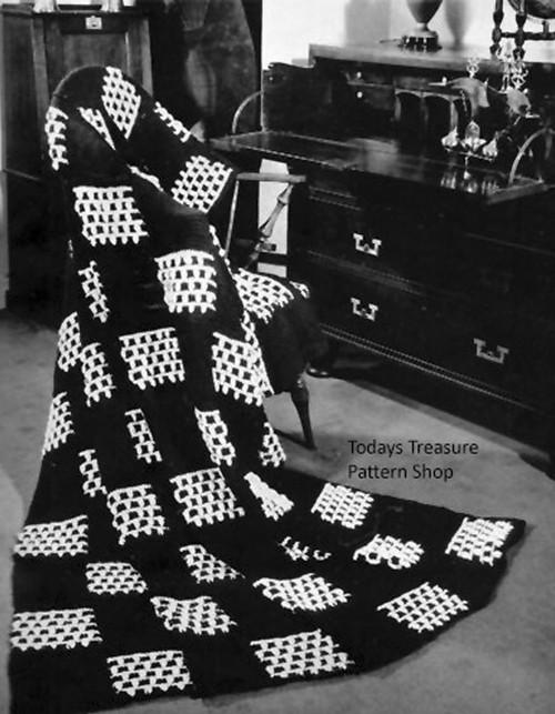 Crocheted Afghan Pattern, Checkerboard Motif