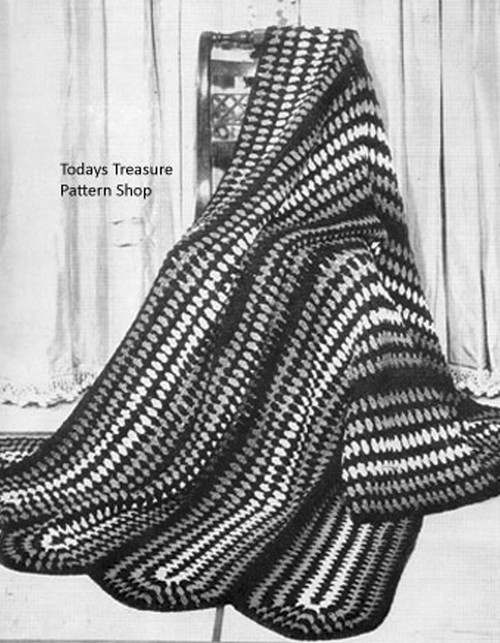 Crochet Afghan Pattern in cluster stitch stripes