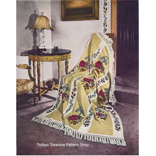 Vintage Rose Embroidered Crochet Afghan Pattern
