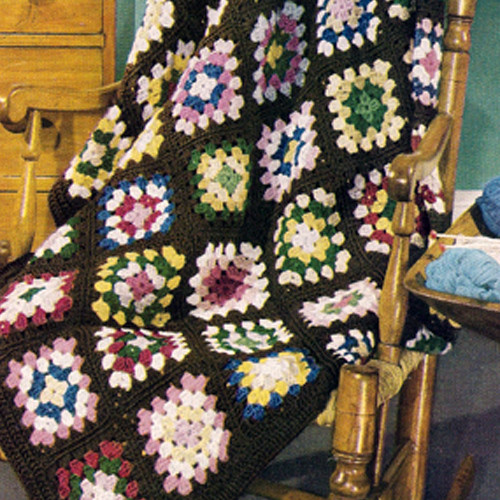 Crochet Afghan Pattern, Colorful Granny Squares