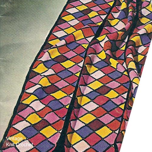 Vintage Crochet Harlequin Afghan Pattern