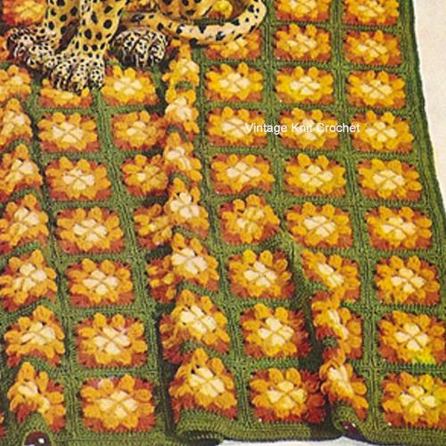 Vintage Crochet Daisy Afghan Pattern, Vintage 1960s