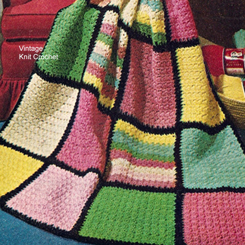 Single Crochet Afghan Pattern, Colorful BlockMotif