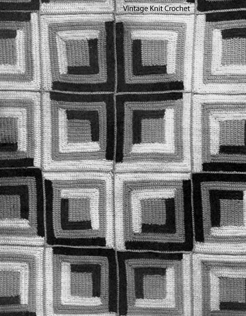 Crocheted Log Cabin Block Afghan Pattern