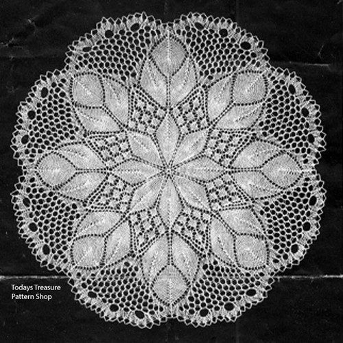 Danish Lace Knitted Tulip Doily Pattern
