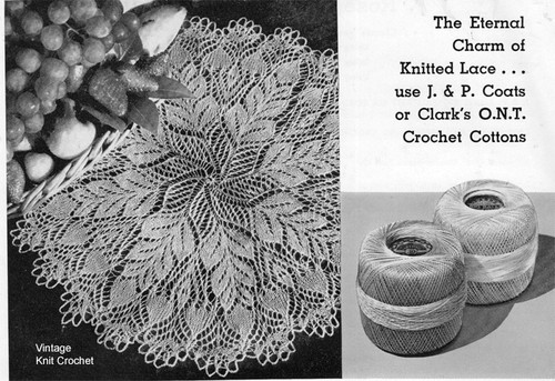 Knitted Pinecone Doily Pattern, Vintage 1950s