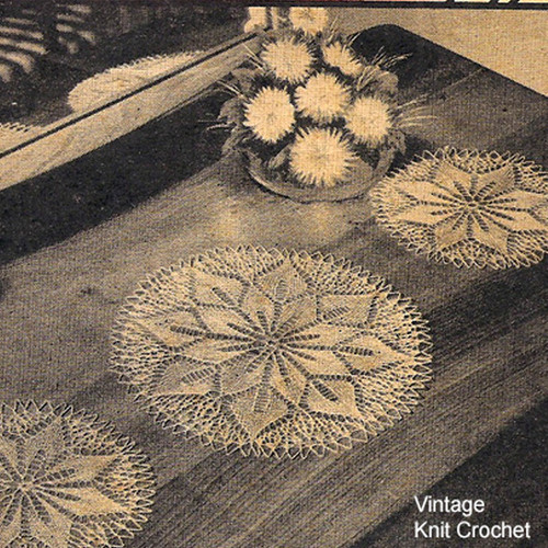 Floral Star Doily Vanity Set Knitting Pattern
