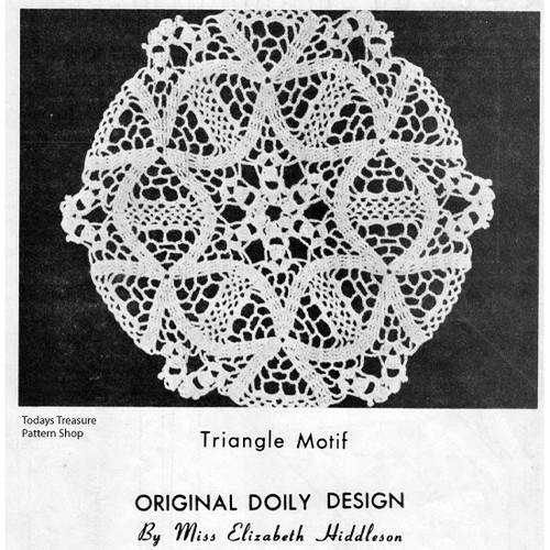 Crochet Flower Triangle Doily Crochet Pattern