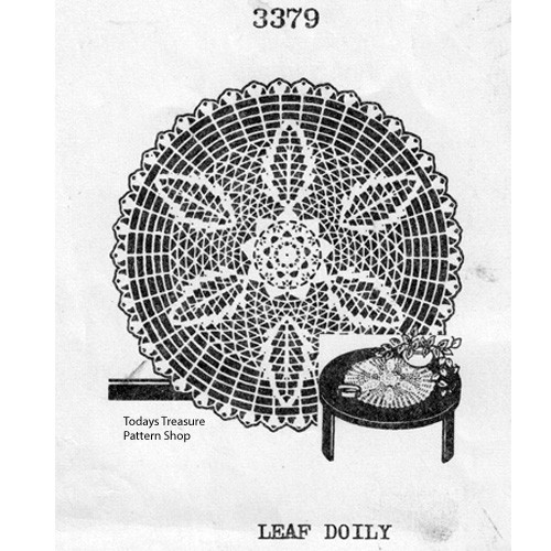 Medium Leaf Crochet Doily Pattern Vintage 1950s