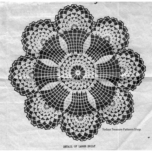 Wheel Crocheted Doily Pattern with Shell Edge