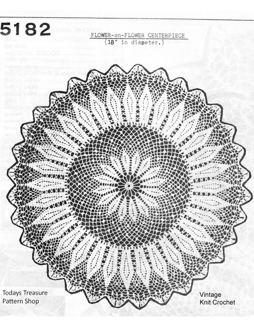 Flower on Flower Crochet Doily Pattern, Mail Order 5182
