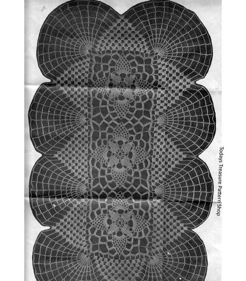 Oblong Doily Runner Crochet Pattern, Vintage 1950s