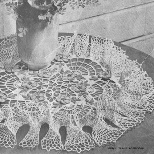 Vintage Rose Ruffled Crochet Doily Pattern