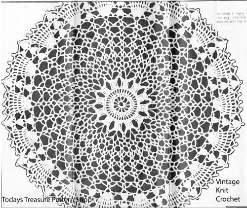 Large crochet sun doily pattern, Anne Cabot 5448