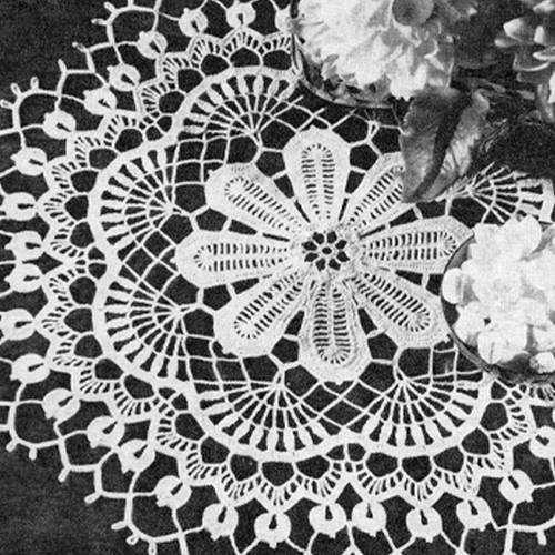 Crochet Pattern Raised Dahlia Flower Doily