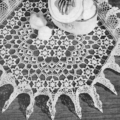Ruffled Hexagon Crocheted Doily Pattern