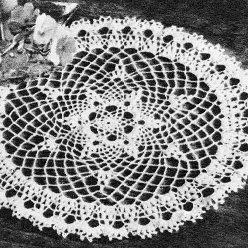 Vintage 1950 Crochet Flower Doily Pattern in Puff Stitch