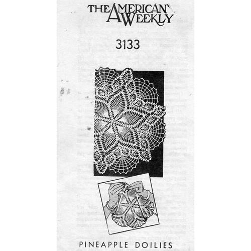 American Weekly 3133, Crochet Pineapple Doily Pattern