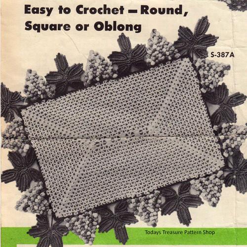 Square Crocheted Grape Mat Pattern