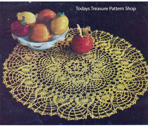 Vintage Crochet Golden Citrus Doily Pattern from American Thread
