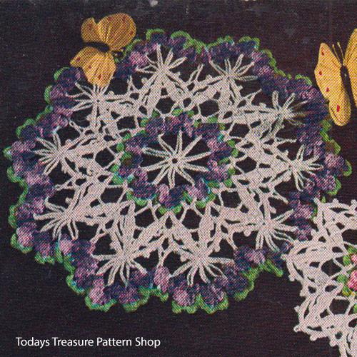 Large Crocheted Violets Doily Pattern