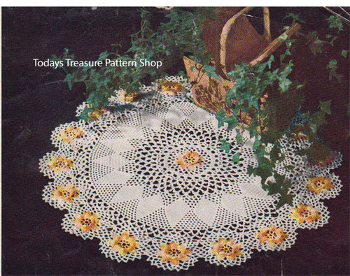 Vintage Ivy Crocheted Doily Pattern with Yellow Flower Border