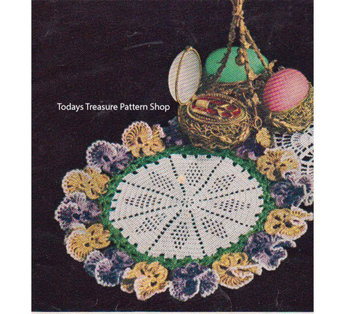 Crochet Star Doily Pattern with Pansy Border