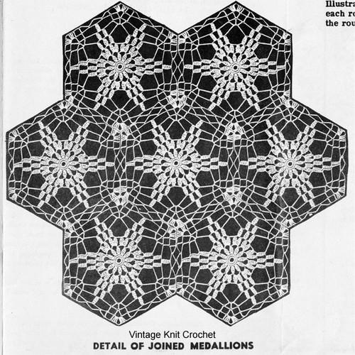 Joined Star Medallions Crochet Pattern Detail