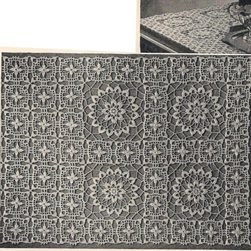 Crocheted Runner or scarf pattern, vintage 1950s