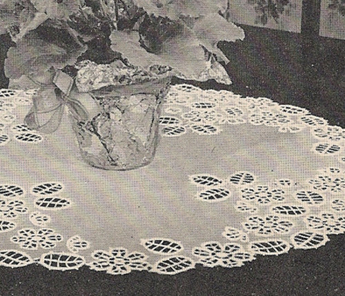 Vintage Cut-Work Crocheted Doily Pattern from Lilly Mills