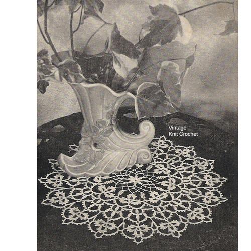Vintage Crochet Doily Pattern, Lacy Clover Leaf Motif
