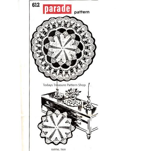 Crochet Shell Doily Pattern, Crystal Trio, Parade 612
