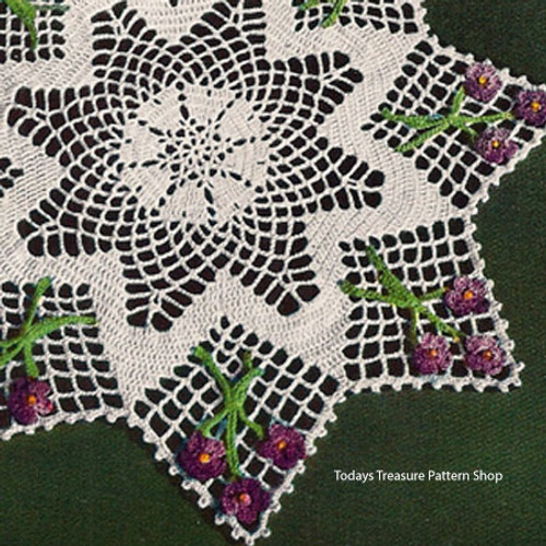 Vintage Violet Crochet Doily Pattern from American Thread
