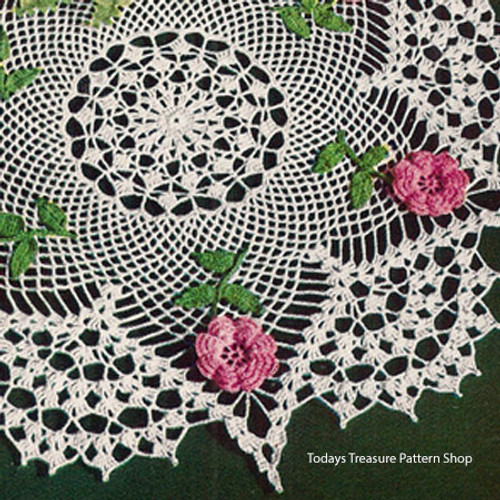 Rose Star Crochet Doily Pattern with Shell Border