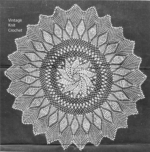 Crochet Centerpiece Doily pattern, Pinwheel Pineapple, Anne Cabot 5353