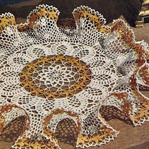 Daisy Ruffled Crochet Doily Pattern from Lily Mills