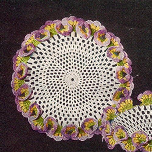 Vintage Crochet Pansy Doily Pattern