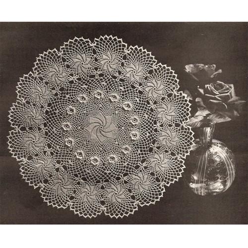 Vintage Rose of Erin Pinwheel Crochet Doily Pattern