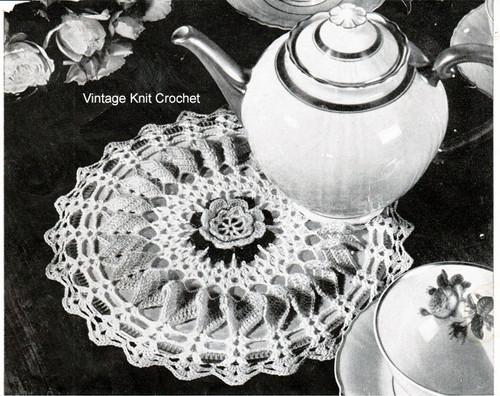 Vintage Crochet Hot Plat Mat, Rose Motif
