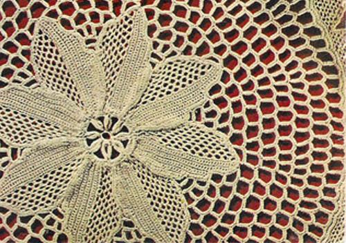 Crocheted Brocade Doily pattern, Vintage 1960s