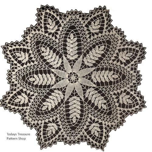 Large Crochet Wheat Doily Pattern Design 318