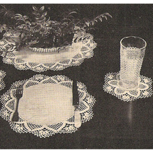 Linen Luncheon Set with Crocheted Border