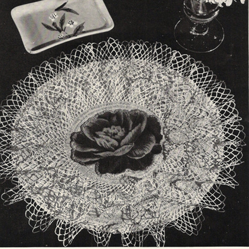 Ruffled Crochet Doily with Rose Center Pattern