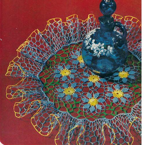 Blue Crochet Flower Ruffled Doily Pattern