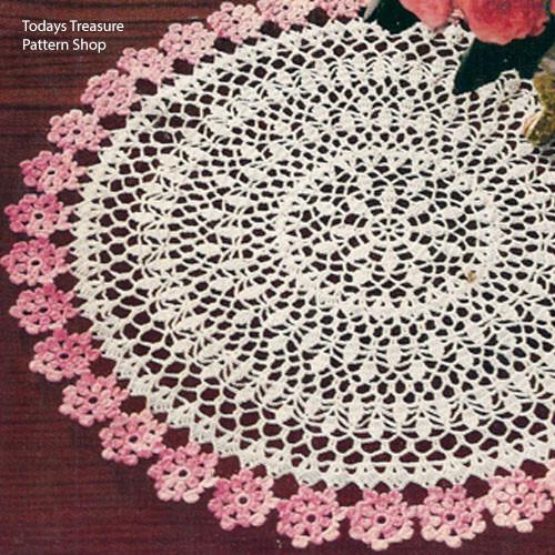 Pink Bordered Crochet Flower Doily pattern