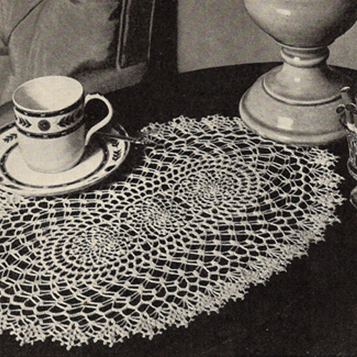 American Thread Oval Crocheted Doily Pattern
